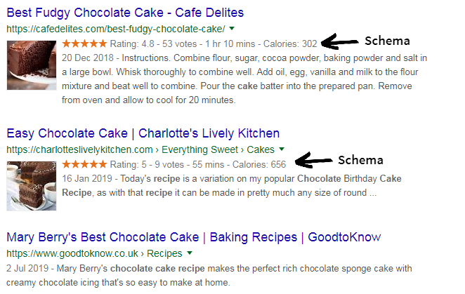 comparison of recipe search engine listing with and without schema